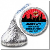 Calling All Superheroes - Hershey Kiss Birthday Party Sticker Labels