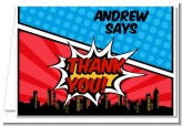 Calling All Superheroes - Birthday Party Thank You Cards