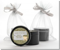 Camo Military - Baby Shower Black Candle Tin Favors