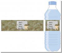 Camo Military - Personalized Baby Shower Water Bottle Labels