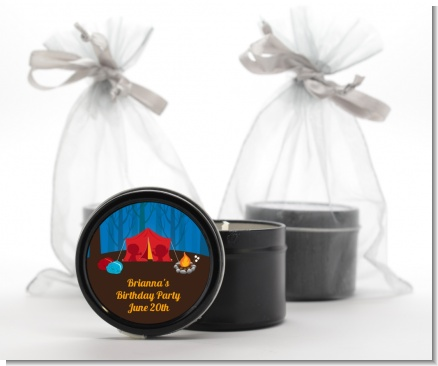 Camping - Birthday Party Black Candle Tin Favors