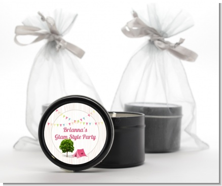 Camping Glam Style - Birthday Party Black Candle Tin Favors