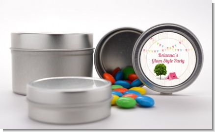 Camping Glam Style - Custom Birthday Party Favor Tins