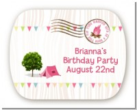 Camping Glam Style - Personalized Birthday Party Rounded Corner Stickers