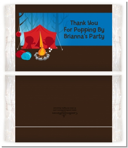 Camping - Personalized Popcorn Wrapper Birthday Party Favors