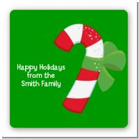 Candy Cane - Square Personalized Christmas Sticker Labels