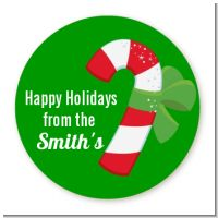 Candy Cane - Round Personalized Christmas Sticker Labels