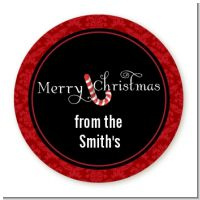 Candy Canes - Round Personalized Christmas Sticker Labels