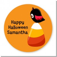 Candy Corn with Bird - Round Personalized Halloween Sticker Labels