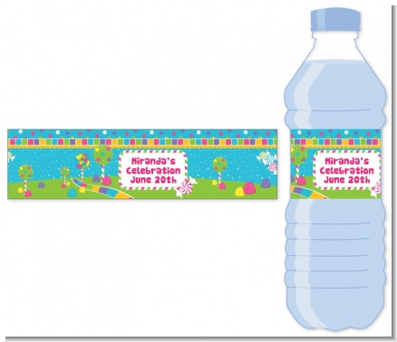 Candy Land - Personalized Birthday Party Water Bottle Labels