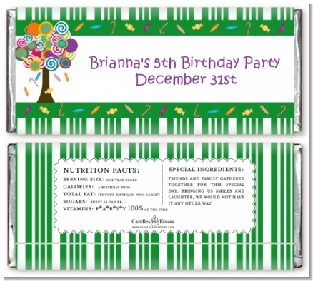 Candy Tree - Personalized Birthday Party Candy Bar Wrappers