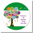 Candy Tree - Round Personalized Birthday Party Sticker Labels thumbnail