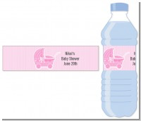 Carriage Pink - Personalized Baby Shower Water Bottle Labels