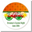 Casino Night Vegas Style - Round Personalized Birthday Party Sticker Labels thumbnail