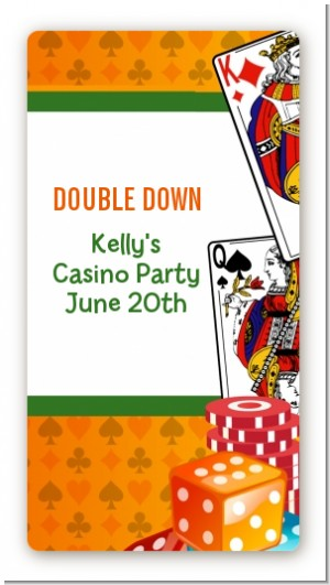Casino Night Vegas Style - Custom Rectangle Birthday Party Sticker/Labels