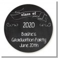 Chalkboard Celebration - Round Personalized Graduation Party Sticker Labels thumbnail