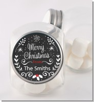 Chalkboard Mistletoe - Personalized Christmas Candy Jar