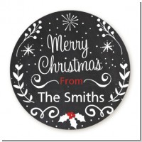 Chalkboard Mistletoe - Round Personalized Christmas Sticker Labels