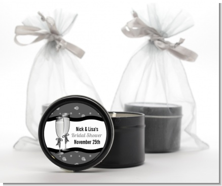 Champagne Glasses - Bridal Shower Black Candle Tin Favors