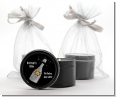 Champagne Gold Silver Faux Glitter - Birthday Party Black Candle Tin Favors