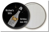 Champagne Gold Silver Faux Glitter - Personalized Birthday Party Pocket Mirror Favors