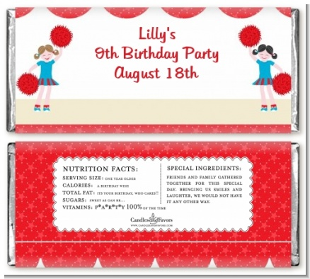 Cheerleader - Personalized Birthday Party Candy Bar Wrappers