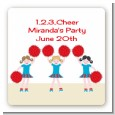 Cheerleader - Square Personalized Birthday Party Sticker Labels thumbnail