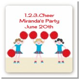 Cheerleader - Square Personalized Birthday Party Sticker Labels
