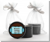 Cheetah Print Blue - Birthday Party Black Candle Tin Favors