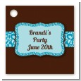 Cheetah Print Blue - Personalized Birthday Party Card Stock Favor Tags thumbnail