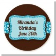 Cheetah Print Blue - Round Personalized Birthday Party Sticker Labels thumbnail