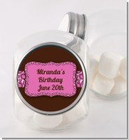 Cheetah Print Pink - Personalized Birthday Party Candy Jar