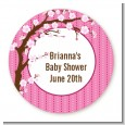 Cherry Blossom - Round Personalized Baby Shower Sticker Labels thumbnail