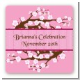 Cherry Blossom - Square Personalized Baby Shower Sticker Labels thumbnail