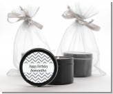 Chevron Gray - Birthday Party Black Candle Tin Favors