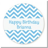 Chevron Light Blue - Round Personalized Birthday Party Sticker Labels