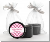 Chevron Pink - Birthday Party Black Candle Tin Favors