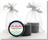 Chevron Rainbow - Birthday Party Black Candle Tin Favors
