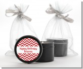 Chevron Red - Birthday Party Black Candle Tin Favors