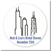 Chicago - Round Personalized Bridal Shower Sticker Labels