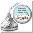 Choo Choo Train Christmas Wonderland - Hershey Kiss Baby Shower Sticker Labels thumbnail