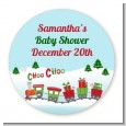 Choo Choo Train Christmas Wonderland - Round Personalized Baby Shower Sticker Labels thumbnail