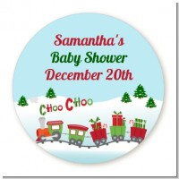 Choo Choo Train Christmas Wonderland - Round Personalized Baby Shower Sticker Labels