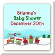 Choo Choo Train Christmas Wonderland - Square Personalized Baby Shower Sticker Labels thumbnail