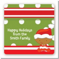 Christmas Baby African American - Square Personalized Baby Shower Sticker Labels