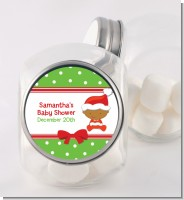 Christmas Baby African American - Personalized Baby Shower Candy Jar