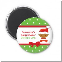 Christmas Baby African American - Personalized Baby Shower Magnet Favors
