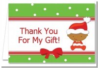 Christmas Baby African American - Baby Shower Thank You Cards