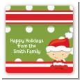 Christmas Baby Caucasian - Square Personalized Baby Shower Sticker Labels thumbnail
