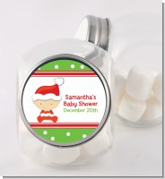 Christmas Baby Caucasian - Personalized Baby Shower Candy Jar